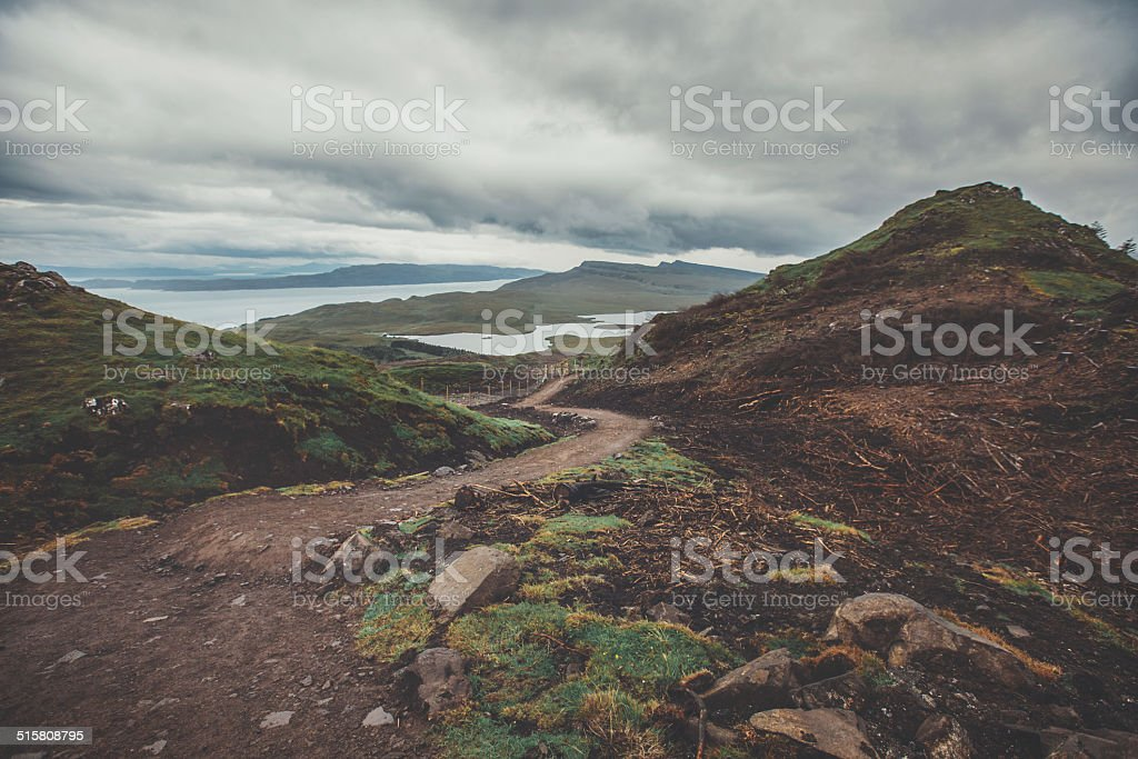 The hike to Old Man Storr, Scotland. stock photo
