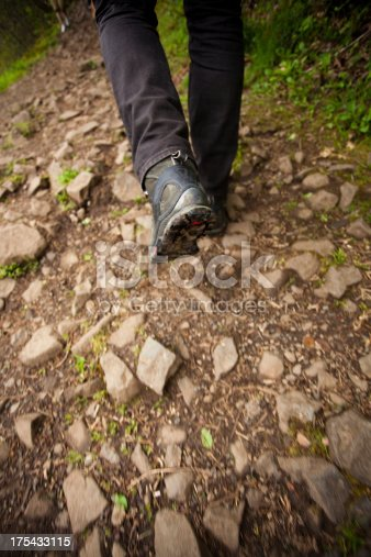 Vertical image of a hikers foot on a rough trail. Motion blur intentional.