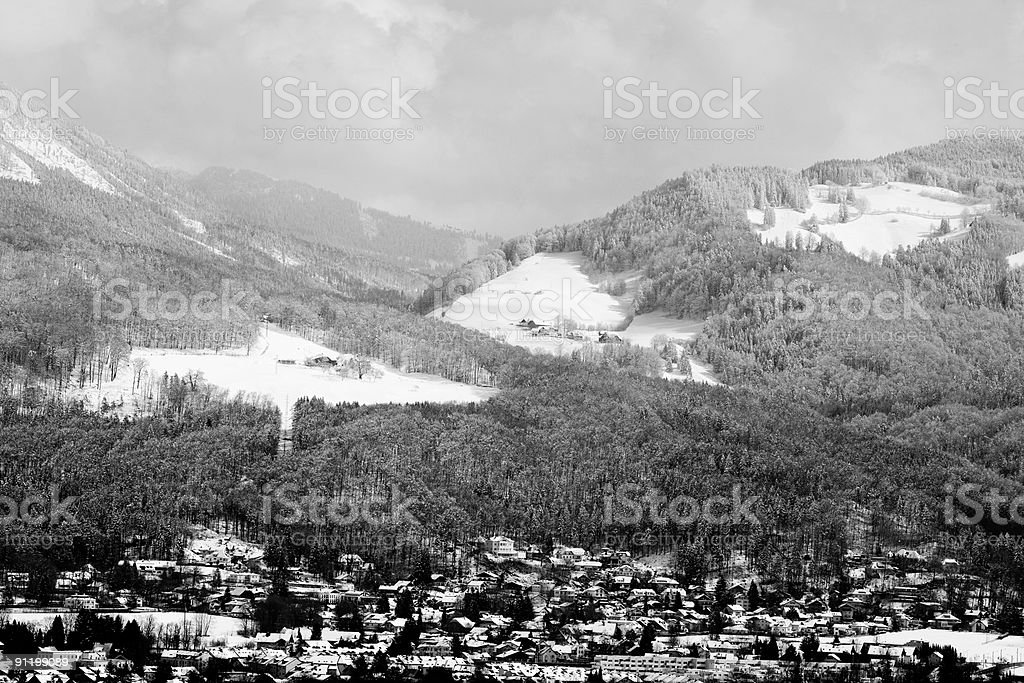 The Hills Of Salzburg (Grayscale) royalty-free stock photo