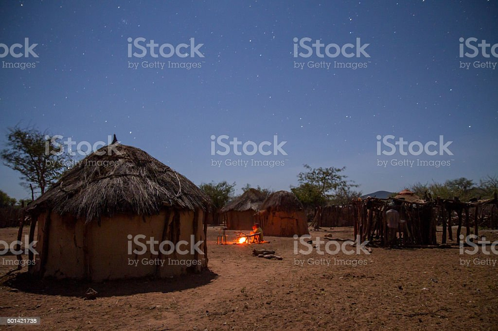The Himba Village At Night stock photo