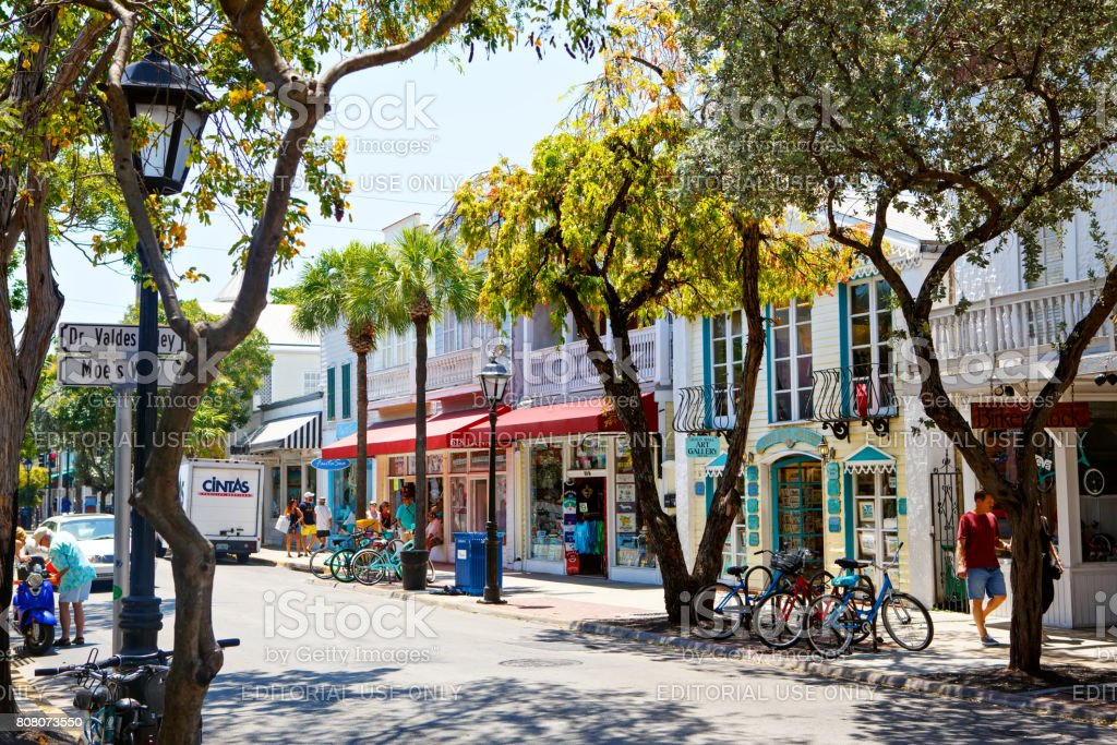 The historic and popular center and Duval Street in downtown Key West. stock photo
