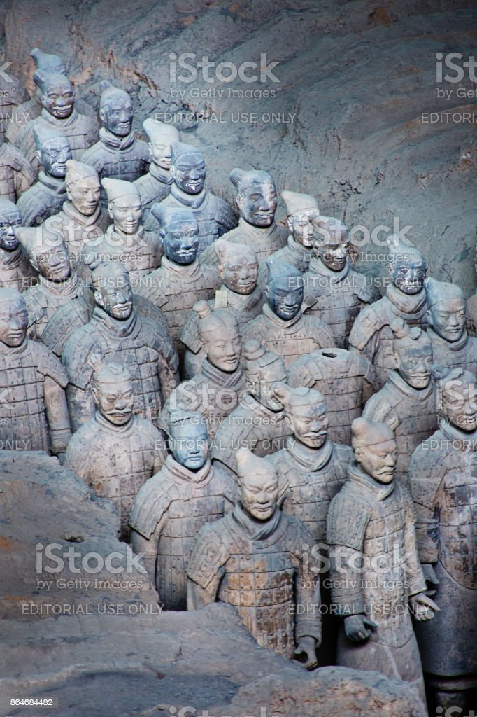The Historic archaeological Site of the Terra cotta Soldiers of Xian, China stock photo