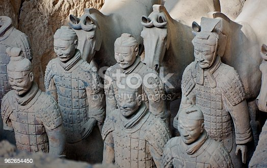 istock The Historic archaeological Site of the Terra cotta Soldiers of Xian, China 962654450