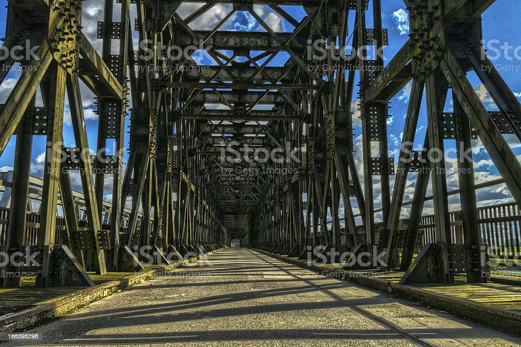 The historic bridge over Vistula River in Tczew stock photo