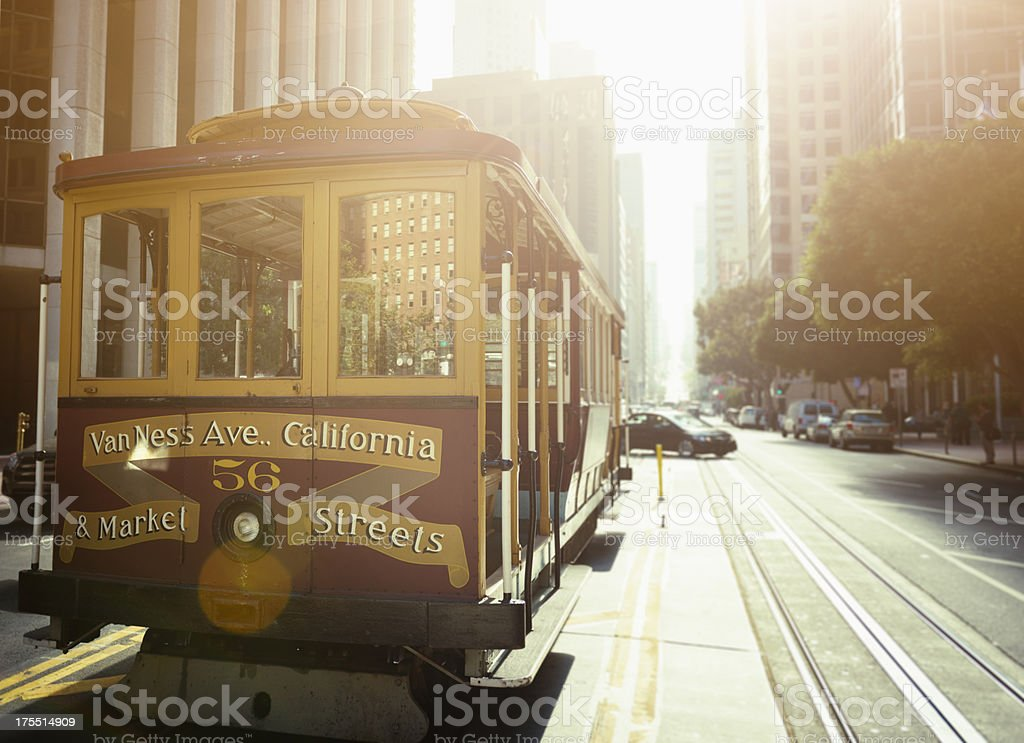 The historic cable car on San francisco city stock photo