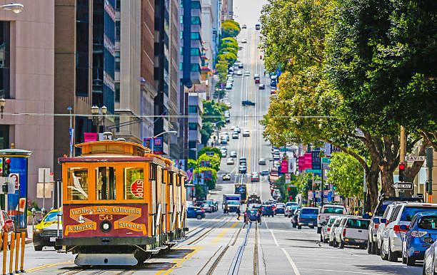 the historic cable car on san francisco city - tram stockfoto's en -beelden