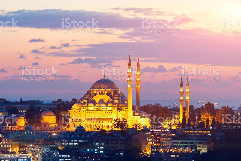 The historic center of Istanbul at sunset. Turkey. foto royalty-free