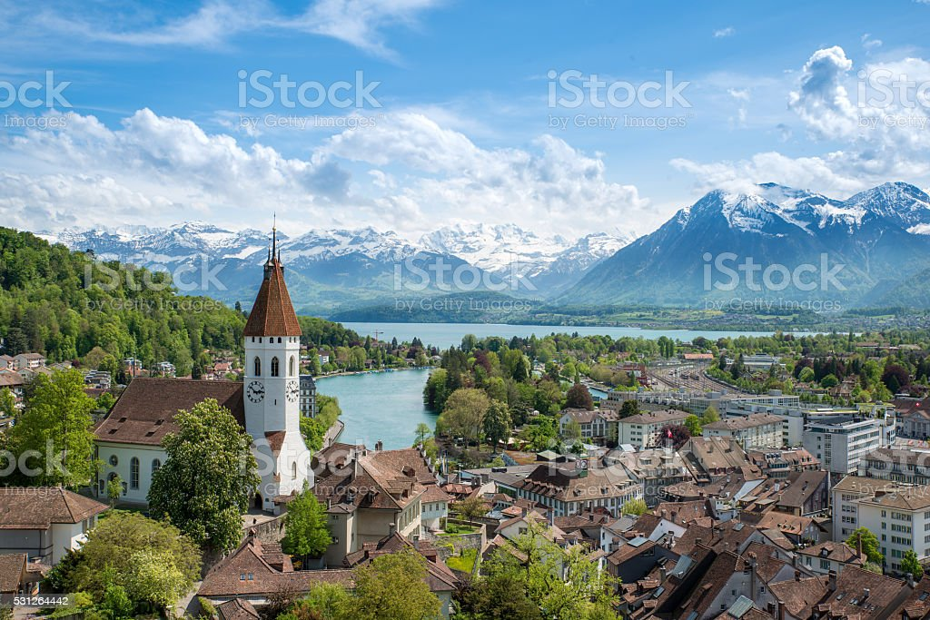 The historic city of Thun, in Bern Switzerland stock photo