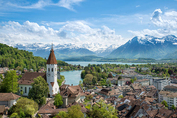 The historic city of Thun, in Bern Switzerland The historic city of Thun, in the canton of Bern in Switzerland switzerland stock pictures, royalty-free photos & images