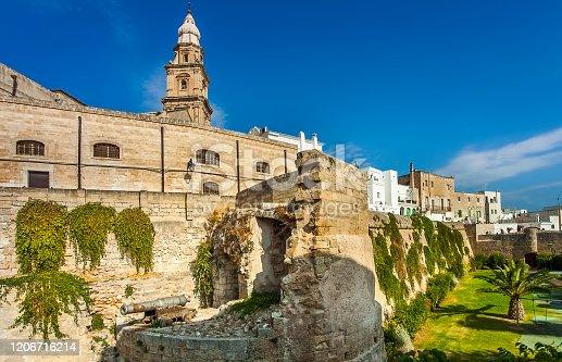 The historic city wall Il Bastione del Molino from Monopoli Apulia Italy