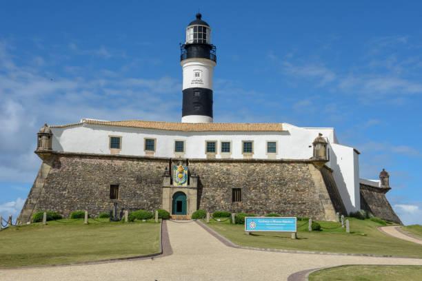 The historic Farol da Barra (Barra Lighthouse) in Salvador Bahia, Brazil stock photo