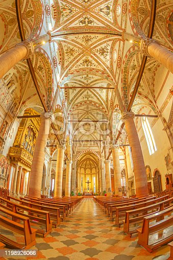 Ornate cathedral ceiling found in the city of Verona, Italy
