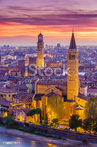 View of the Italian city of Verona and the Adige River at dusk