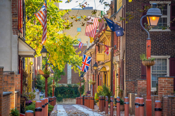 The historic Old City in Philadelphia, Pennsylvania. Elfreth's Alley stock photo