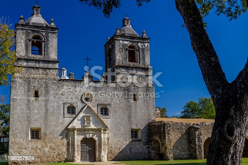 The Historic Old West Spanish Mission Concepcion, Established 1716, San Antonio, Texas.  Interesting Old Spanish Catholic Church Building.
