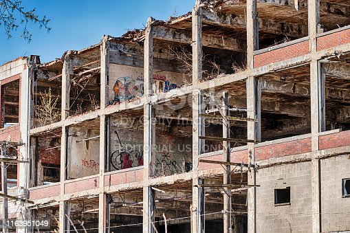 Detroit, Michigan - April 28, 2019:  The historic Packard Motor Company factory was once one of the largest factories in the world but is now just an empty shell.