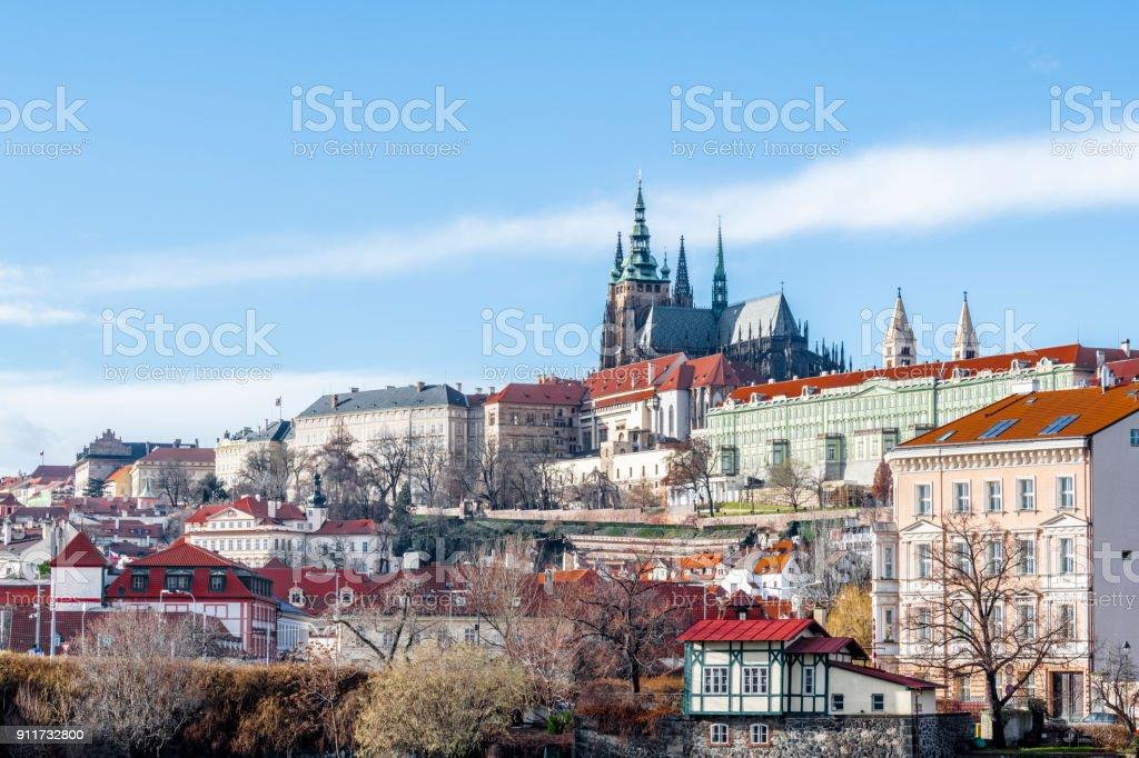 The historic quarters of Prague stock photo