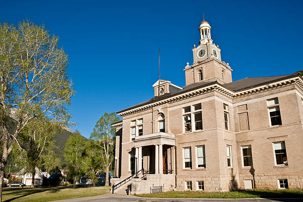 San Juan County Courthouse The historic San Juan County Courthouse was built in 1908. The courthouse is located in Silverton, Colorado, USA. san juan county colorado stock pictures, royalty-free photos & images