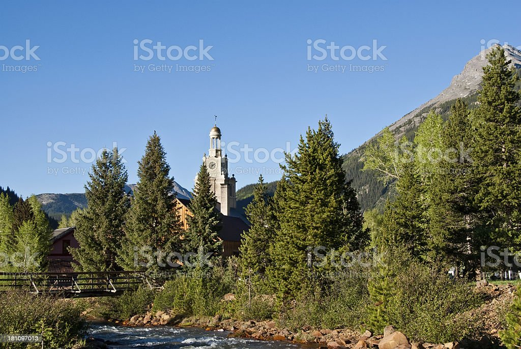 Cement Creek and San Juan County Courthouse royalty-free stock photo