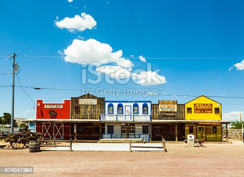 Seligman, USA - July 8, 2008: The Historic Seligman depot on historic Route 66 in Seligman, AZ, USA. Built in 1904, today, Seligmans depot is the best original western facade all over Route 66.