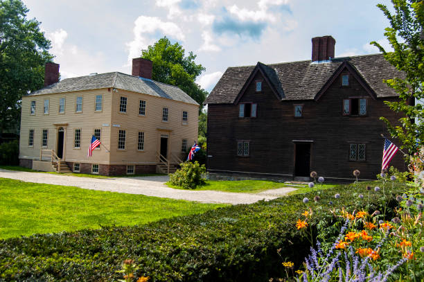 The historic Strawbery Banke Museum, ofl colonial installation in New Hampshire, Portsmouth stock photo