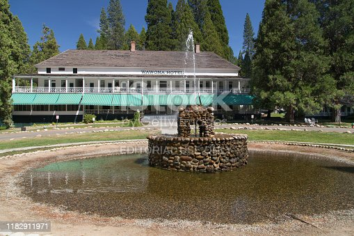 Wawona, California - August 28, 2019: The historic Wawona Hotel in the Yosemite National Park, California, USA.