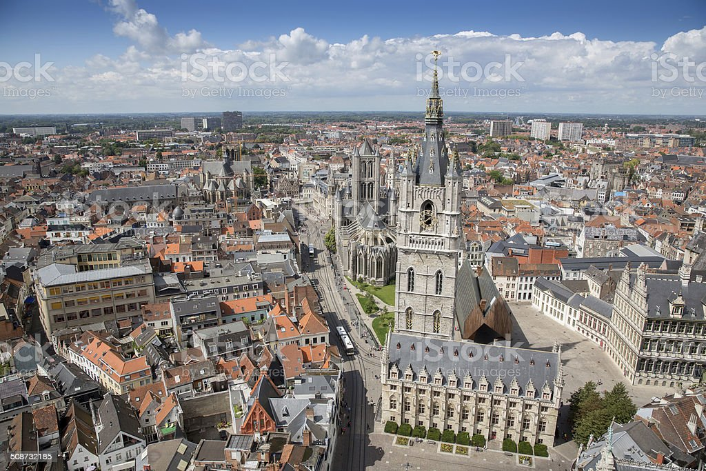 The historical city of Ghent stock photo