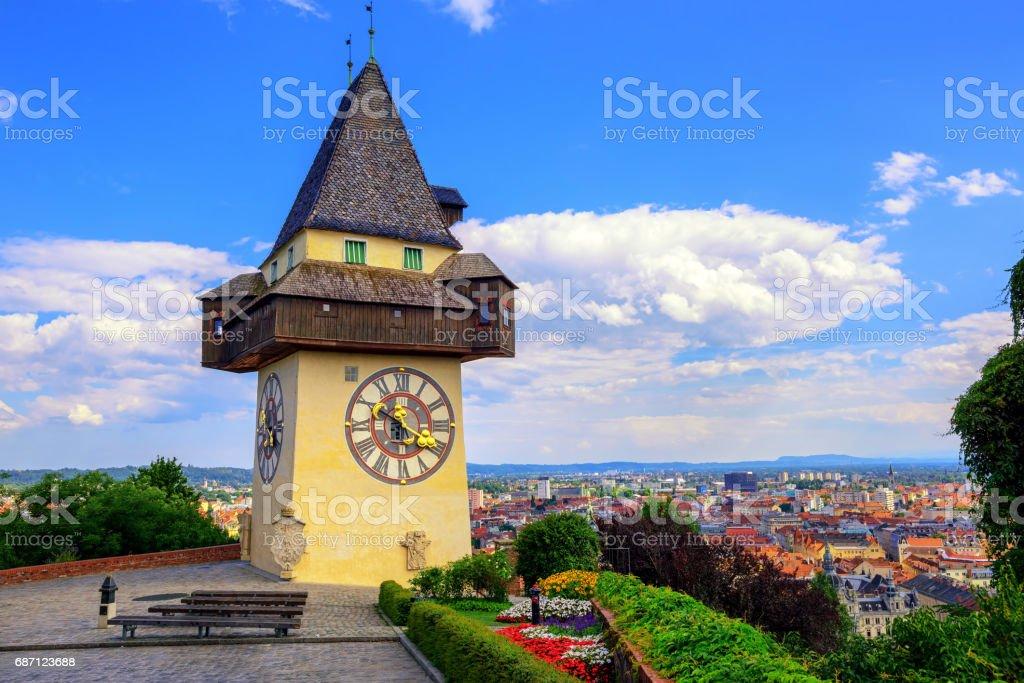 The historical Clock tower Uhrturm in Graz, Austria stock photo