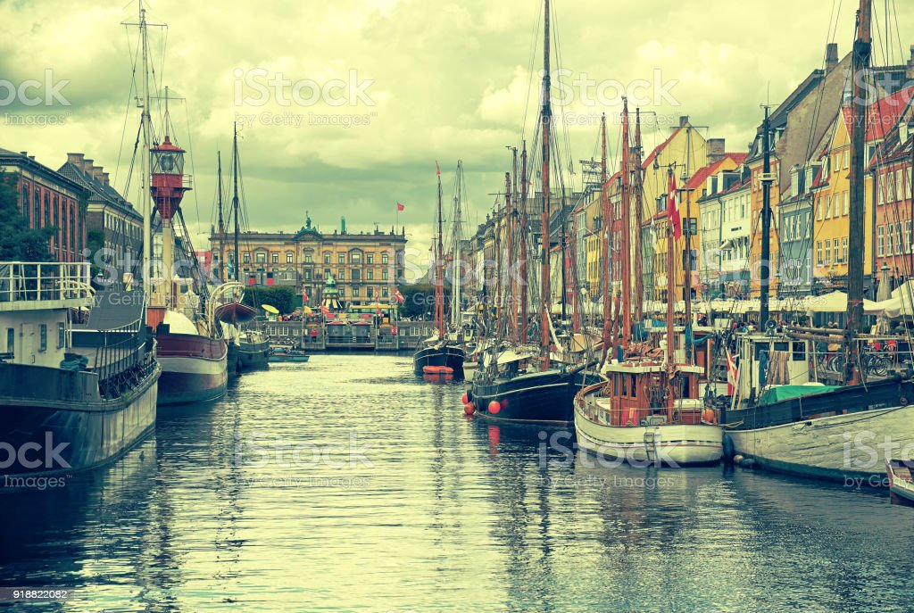 The historical ships in Nyhavn, Copenhagen. stock photo