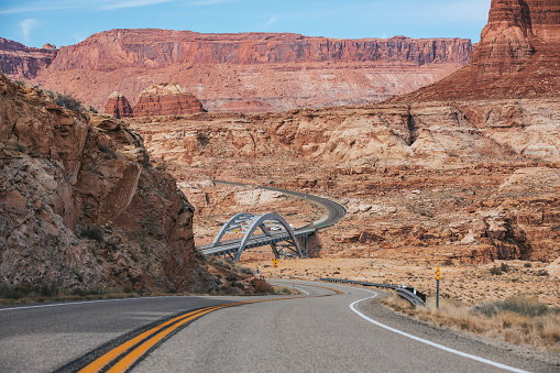 The Hite Crossing Bridge is an arch bridge that carries Utah State Route 95 across the Colorado River northwest of Blanding, Utah, United States
