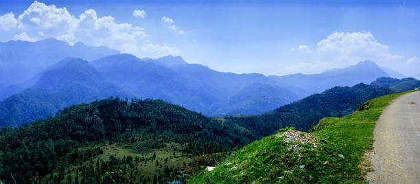 the Hoang Lien Son Range, shot from the Tonkinese Alps, that borders Vietnam, China and Laos stock photo