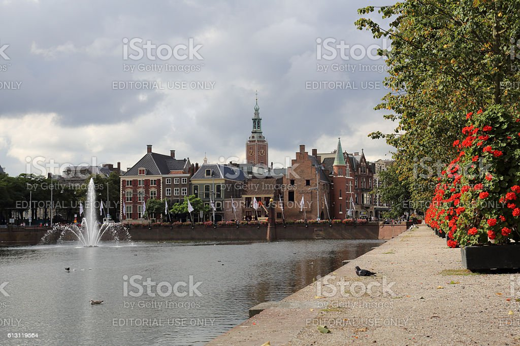 The Hofvijver in The Hague, Holland stock photo