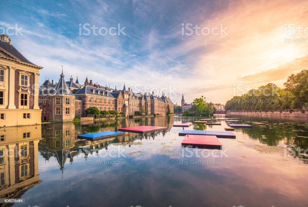 The Hofvijver Pond (Court Pond) with the Binnenhof complex in The Hague, Netherlands stock photo