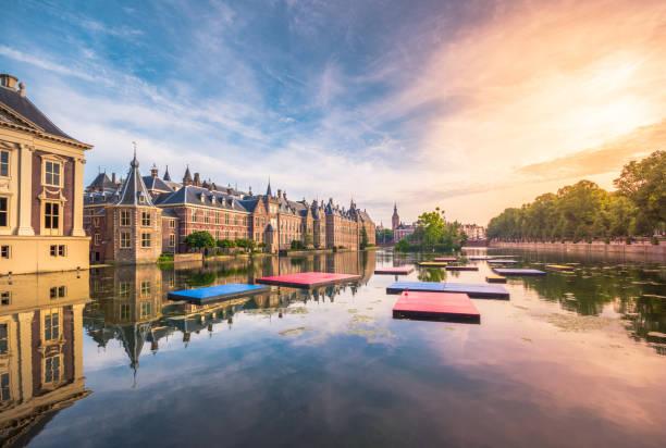 de hofvijver vijver (court pond) met het binnenhof complex in den haag, nederland - den haag stockfoto's en -beelden