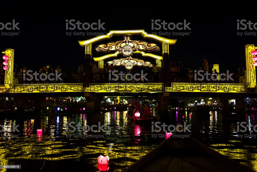 The Hoi An River area in the old city at night in Vietnam stock photo