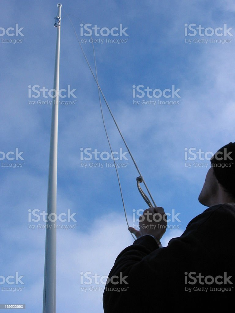 the hoisting of the flag stock photo