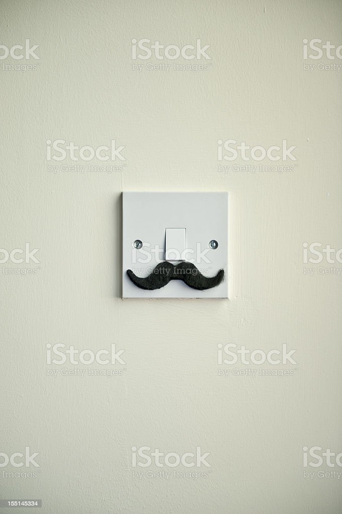 The Hollywood Mustache Light Switch royalty-free stock photo