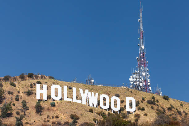 The Hollywood Sign on Mount Lee stock photo