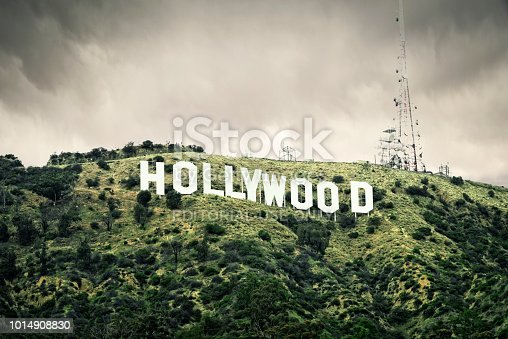 The Hollywood Sign located in the Hollywood Hills section of Los Angeles. Built originally as a real estate advertisement in 1923, The Hollywood Sign has since become a world famous landmark.