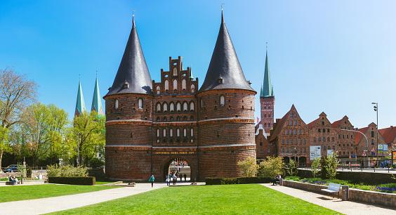 The Holsten Gate or Holstentor in Lubeck old town - Germany, Schleswig-Holstein