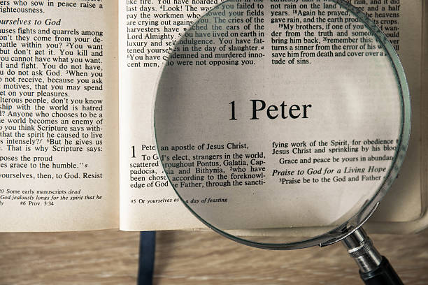 """the holy bible on the book of """"1 peter"""" - peter the apostle stock photos and pictures"""