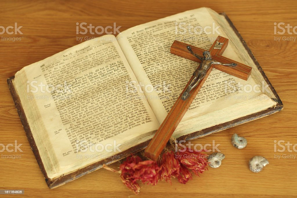 The holy book and a crusifix stock photo