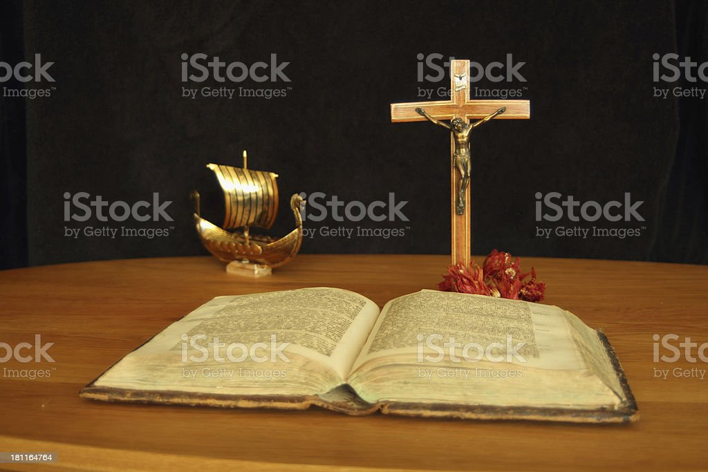 The holy book and christen vikings stock photo
