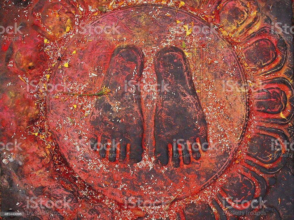 The Holy Buddha Feet - Nepal, Kathmandu, Swoyabhunath stock photo