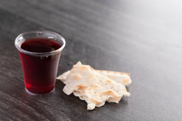 The Holy Communion of the Christian Faith of Wine and Unleavened Bread stock photo