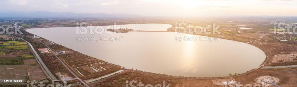 The Holy Heart Land - Talayluang in Sukhothai,Thailand. Aerial view from flying drone - Royalty-free Above Stock Photo