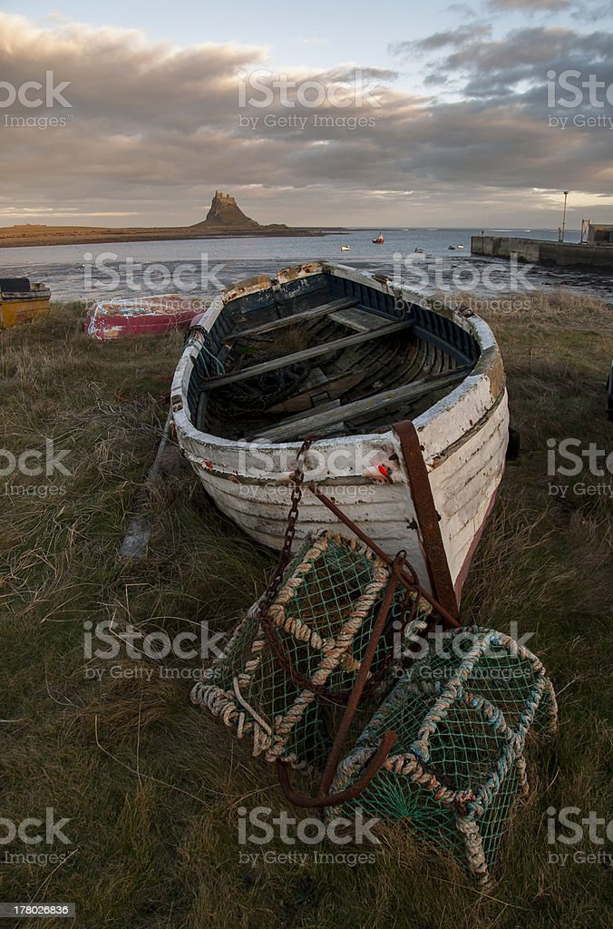 The holy Island of Lindisfarne, Northumberland stock photo
