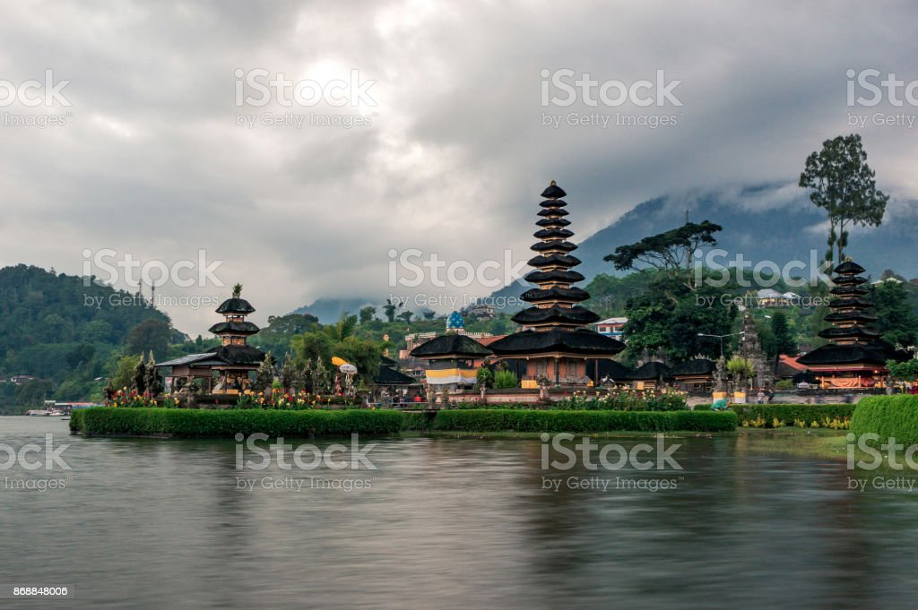 The holy pagoda of the temple Pura Ulun Danu temple stock photo