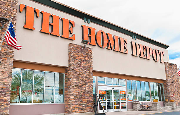 The Home Depot DIY Retail Store Front with Sign stock photo
