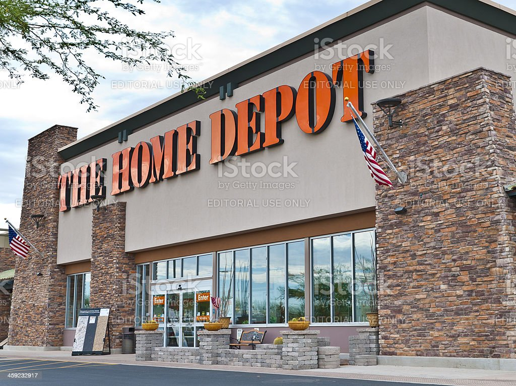 The Home Depot Hom Improvement Retail Store Front with Sign stock photo